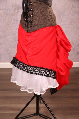 Mini Length Chandelier Bustle with trim Scarlet Satin