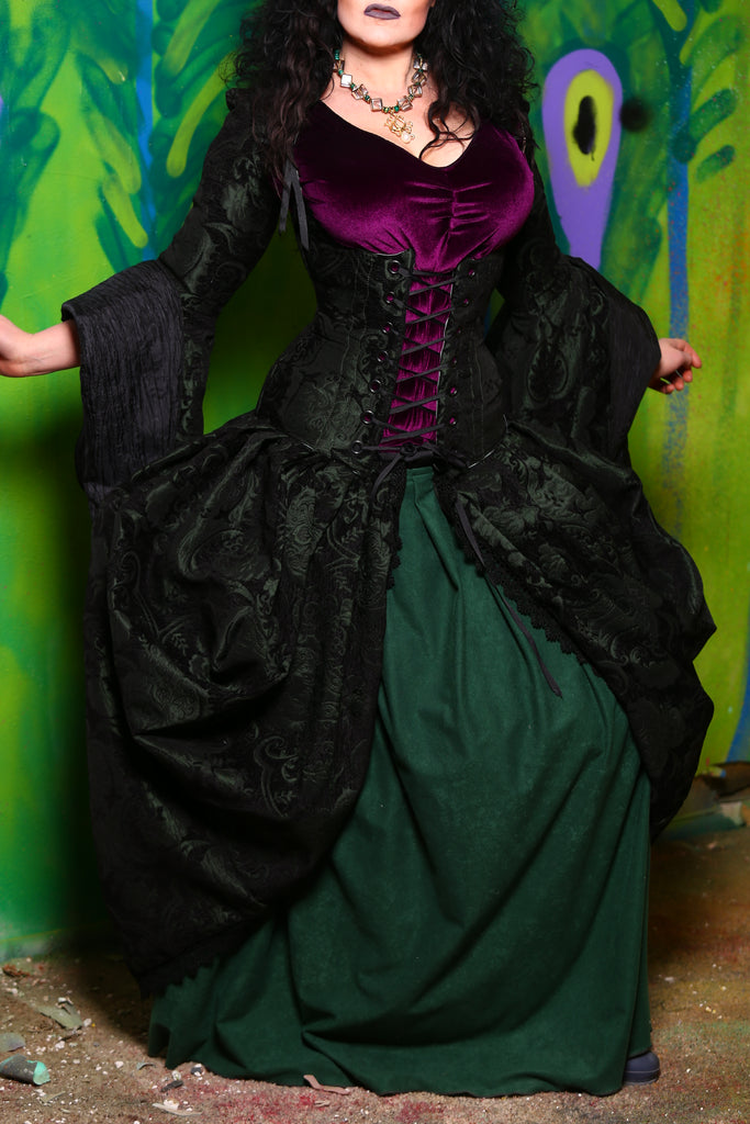 Queenie Overskirt with Pockets in Green and Black Medallion