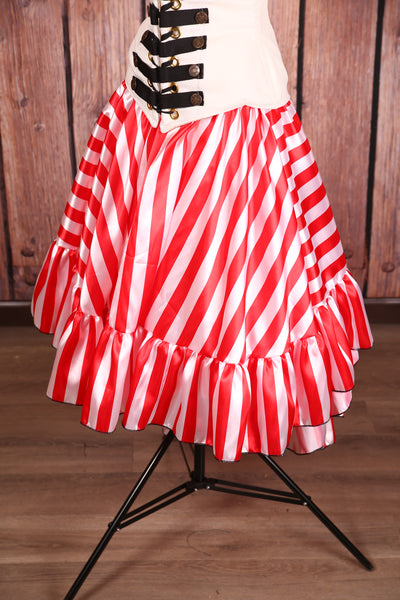 Salsa Skirt Red Pirate Stripe Charmeuse