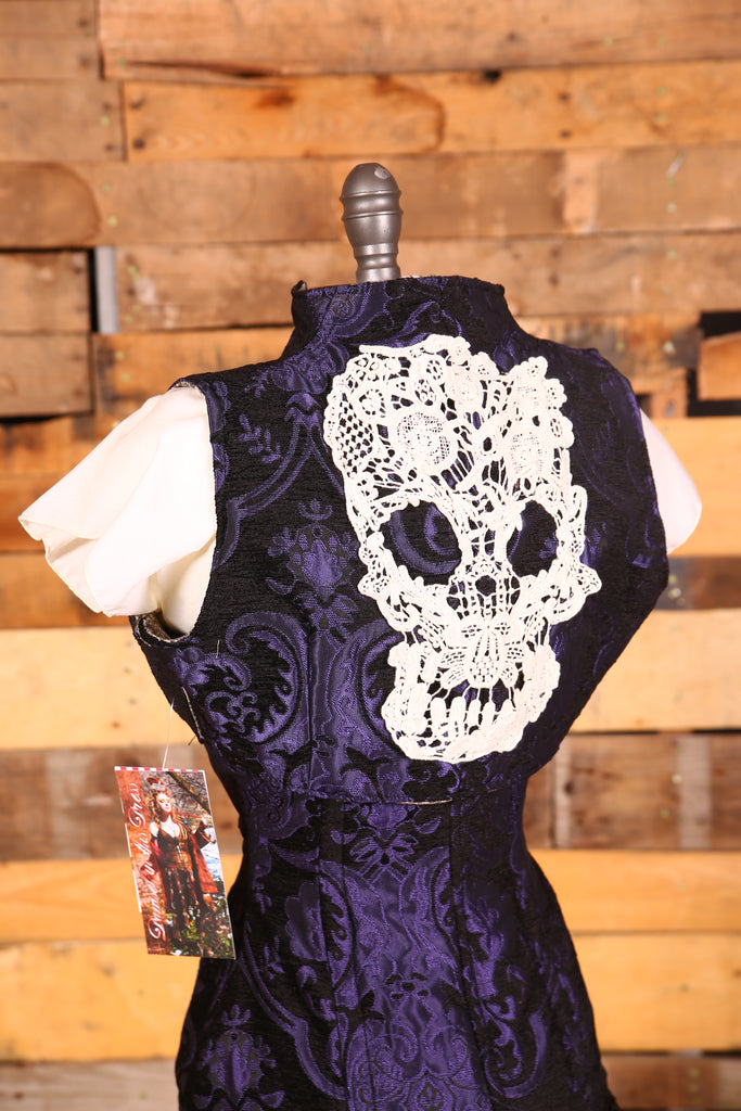 Sgt. Pepper Vest Purple and Black Medallion with Lace Skull