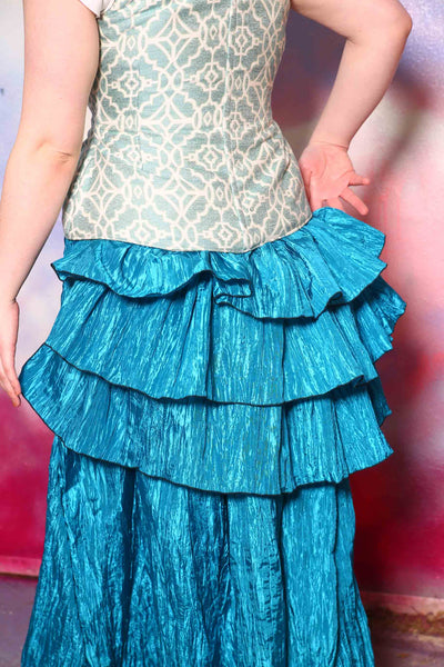 Single Tieranny Ruffle in Teal Blue Crushed Satin