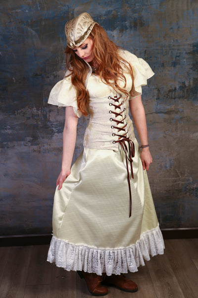Cream Carousel Skirt with Lace Trim - NF/P