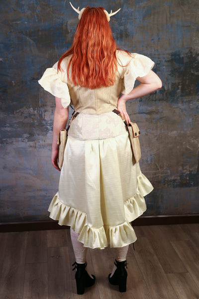 Cream Pleated Ruffle Stagecoach Skirt - NF/P