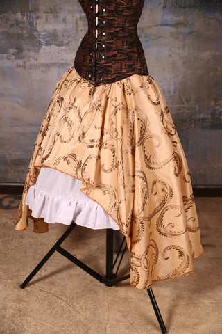 Crescent Skirt Gold Embroidered Vine