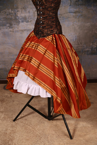Crescent Skirt Rust Gold Stripe