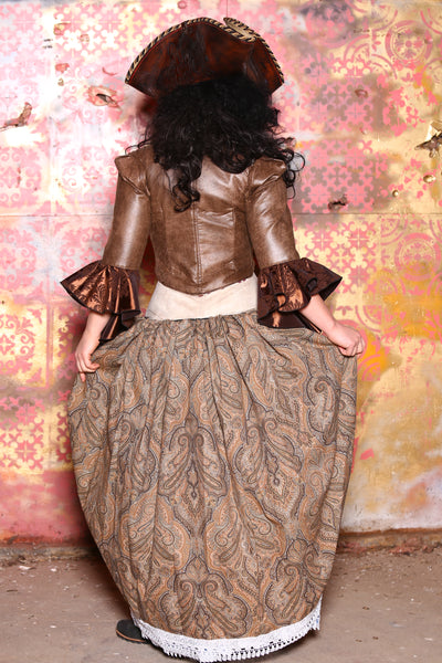 Split Front Overskirt in Brown Paisley with Lace