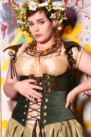 Curtail Corset in Emerald and Gold Medallion