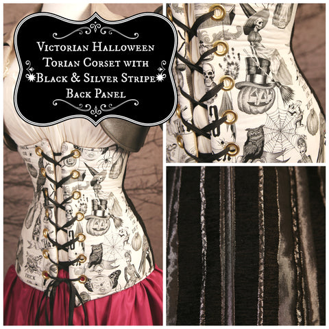 Victorian Halloween Torian Corset with Black & Silver Stripe Back Panel
