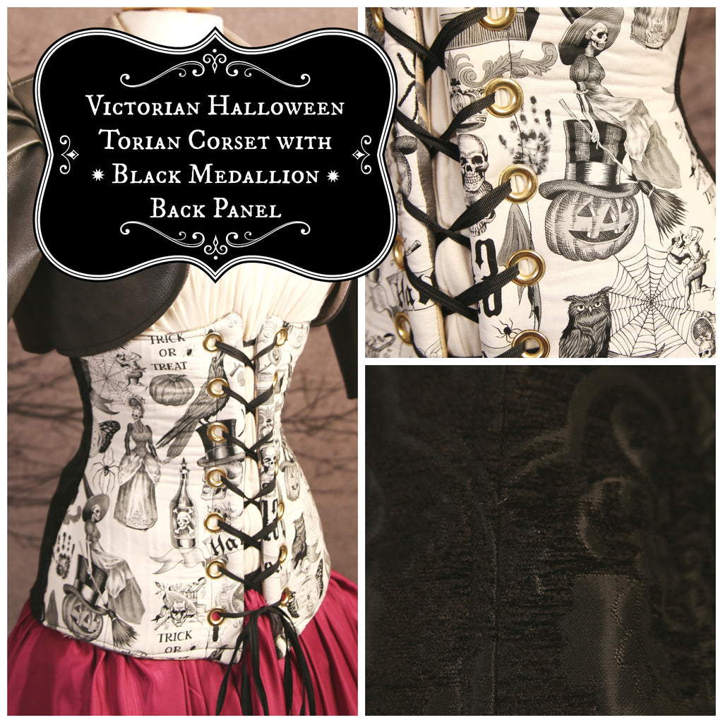victorian halloween torian corset with black medallion back panel
