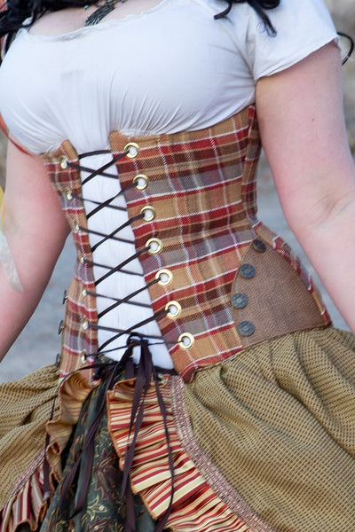 Torian Corset with Hipster Panels in Apple Cider Plaid