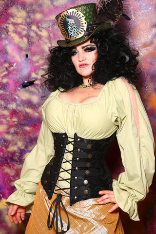 Torian Corset in Black Medallion with Buttons and Trim
