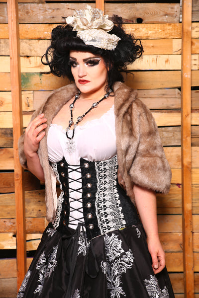 Torian Corset in Black Brushstroke with White Lace Trim