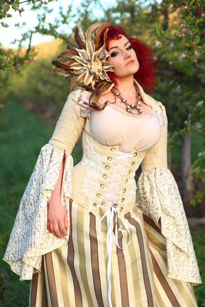 Vixen Corset- Cream Checkerboard with Embroidered Taffeta Sleeves