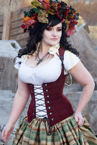 Vixen Corset w/ Cream Ruffle Collar in Cranberry