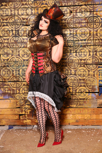 Vixen Corset in Black and Bronze Vintage Paisley with Red Trim