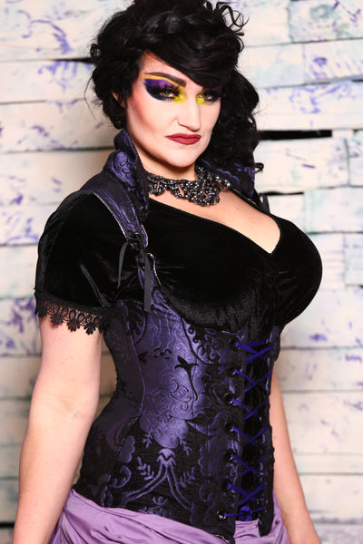 Vixen Corset in Purple and Black Medallion