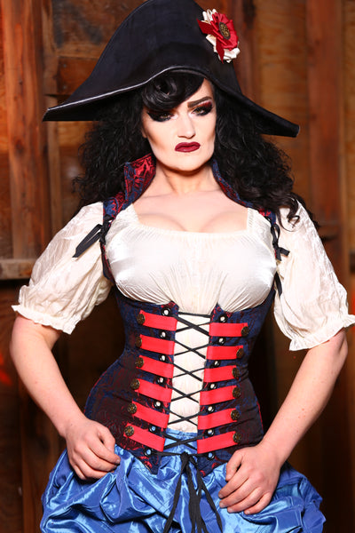 Vixen Corset in Spiderman Medallion with Red Trim