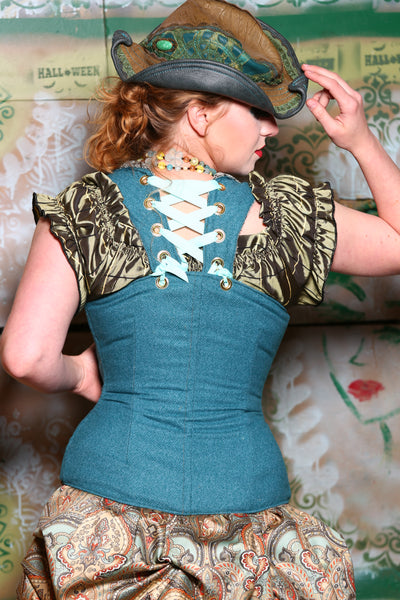 Voyager Corset in Teal Profusion