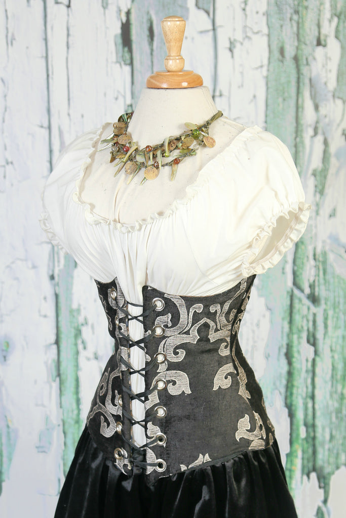 Silver and Black Damask Wench Corset
