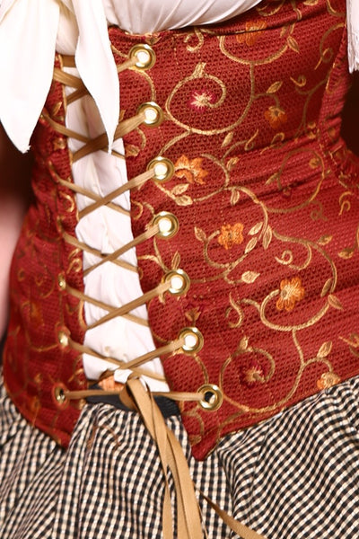 Wench Corset in Hot Sauce Floral