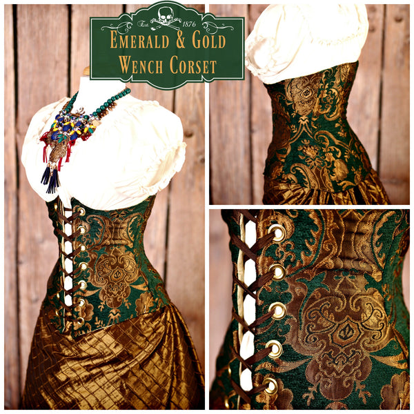 NEW Emerald & Gold Medallion Wench Corsets