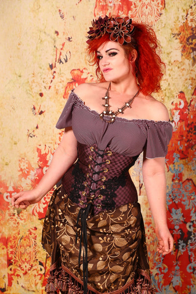 Wench Corset Plum Checkered Out with Black Lace Trim - FLR
