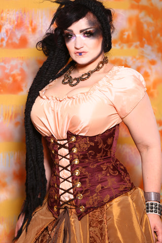 Wench Corset in Brick Floral Jacquard