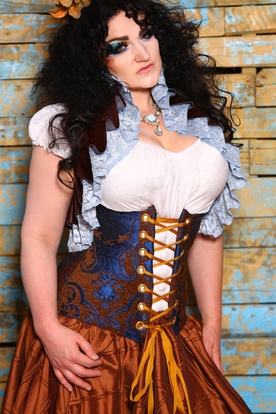 Wench Corset in Cerulean Penny