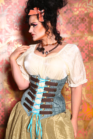 Wench Corset in Dusty Blue Tendrils with Trim