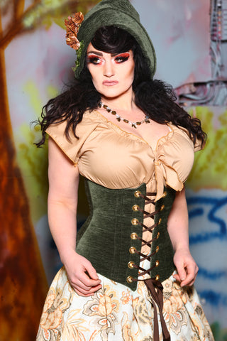 Wench Corset in Evergreen Solid Chenille
