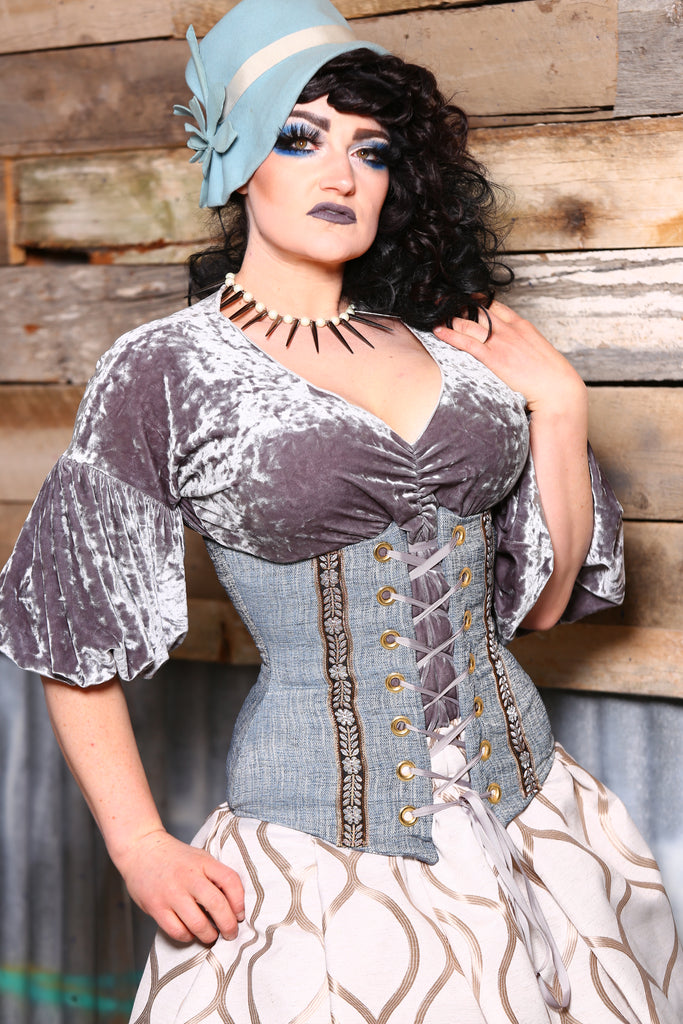 Wench Corset in Glacier with Ribbon Trim