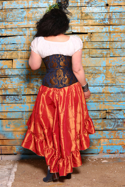 Wench Corset in Blue and Gold Medallion
