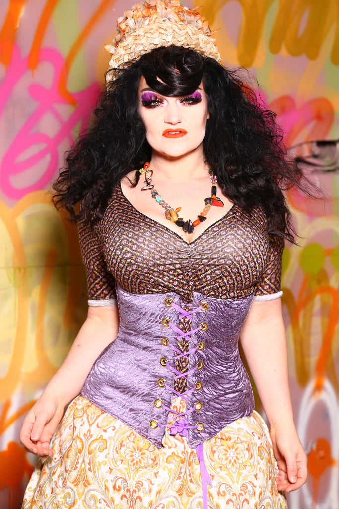Wench Corset in Lilac Tendrils