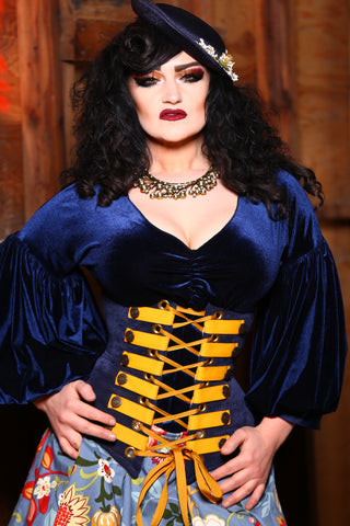 Wench Corset in Navy with Canary Trim