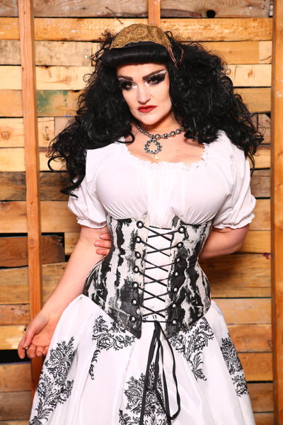 Wench Corset in Shining Aspen in Mixed Grommets