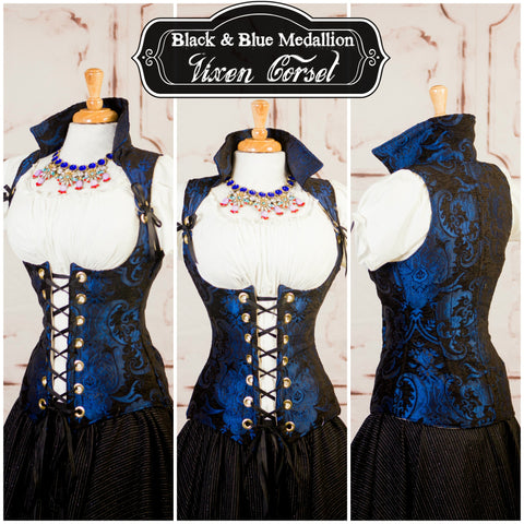 Black and Blue Medallion Vixen Corset