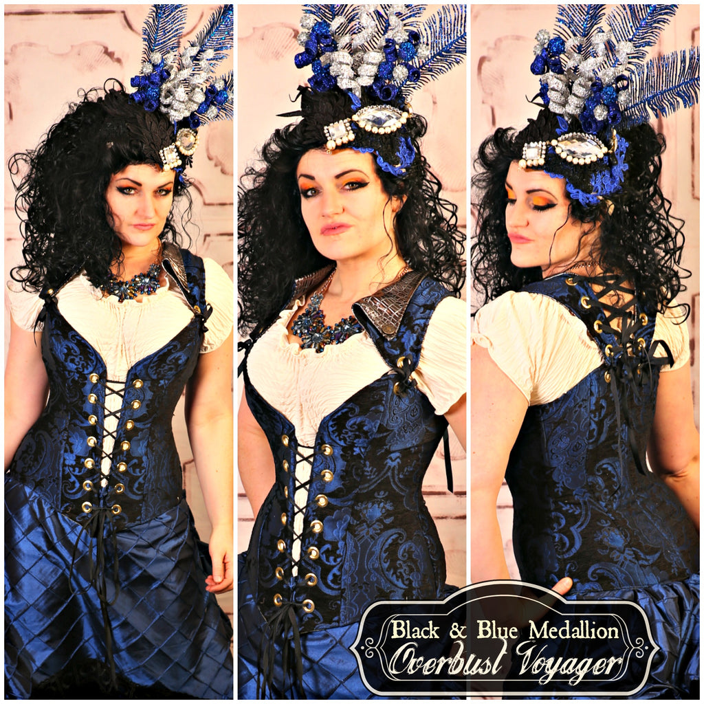 Black & Blue Medallion Overbust Voyager Corset - RC2