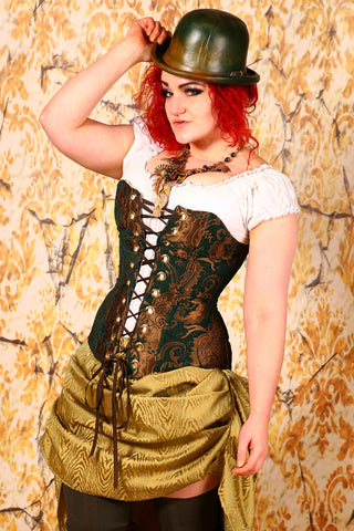 Aurora Corset-Emerald and Gold Medallion - RB2