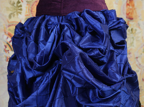 Blue Pintuck Mini-length Bustle Skirt