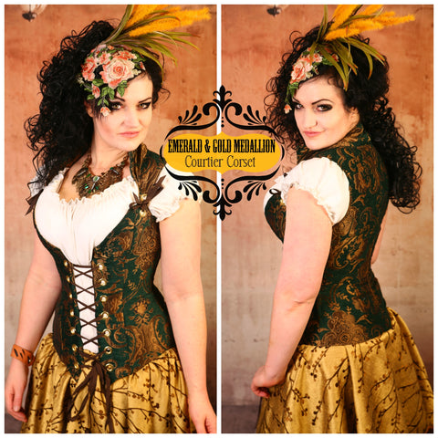Emerald & Gold Medallion Courtier Corset - RA2
