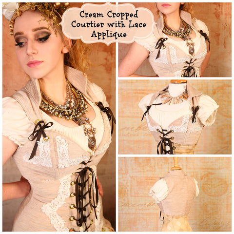 Cream Cropped Courtier with Lace Applique