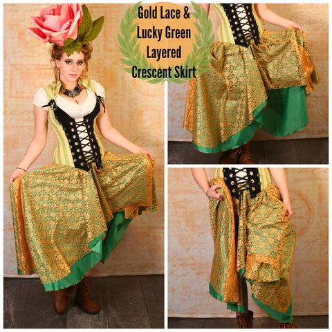 Gold Lace & Lucky Green Layered Crescent Skirt - RH2