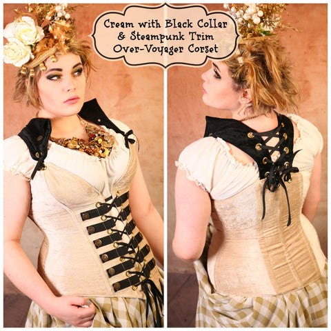 Cream with Black Collar & Steampunk Trim Overbust Voyager Corset