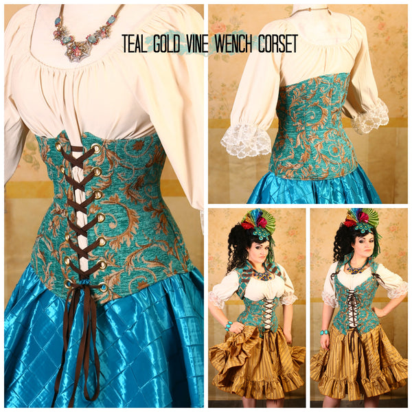 Teal Gold Vine Wench Corset