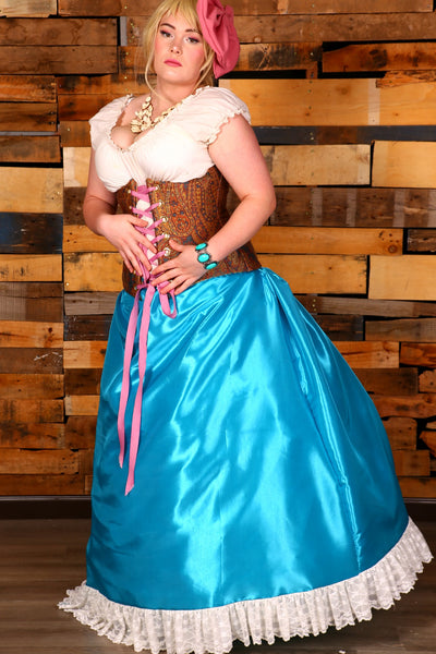 Carousel Skirt-Extra Length- Princess Blue Solid Taffeta with cream Lace