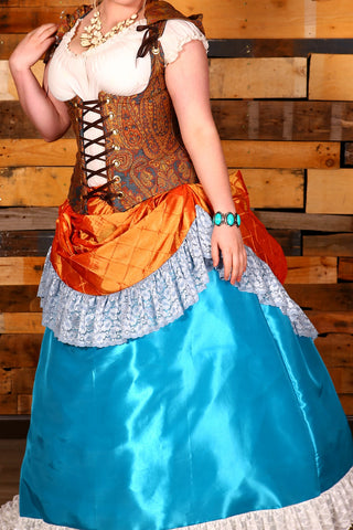 Carousel Skirt in Sherbet Pintuck Taffeta with Slate Blue Stretch Lace Ruffle