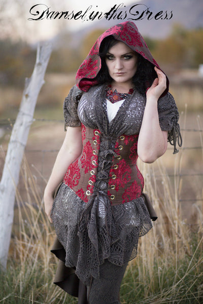 Red and Brown Medallion Cloak Corset