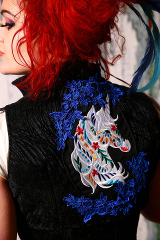 Unicorn Embroidered Black Tendrils Sgt. Pepper Vest