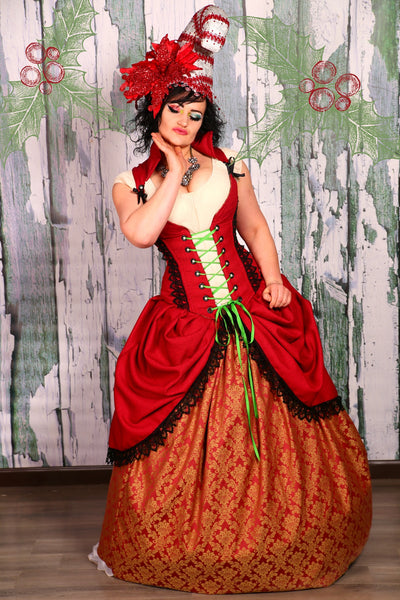 Courtier Corset in Inevitable Red with Black Lace