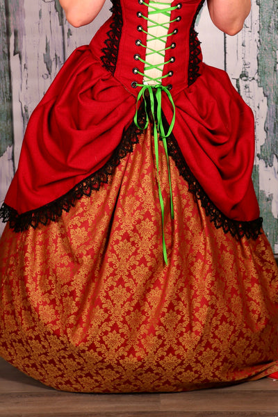 Detachable Rococo Overskirt in Inevitable Red with Black Lace